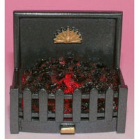 Square Metal Fire Grate with Glowing Coals