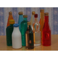 Set of 10 Miniature Coloured Bottles
