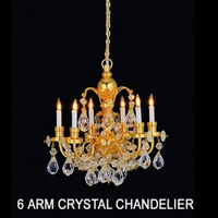 Real Crystal 6 Arm Dolls House Chandelier