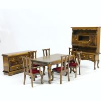 Walnut Dolls House Dining Room Set