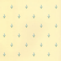 Fleur de Lys Wallpaper - Green on Cream
