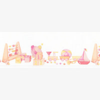 Toybox Pink Dolls House Wallpaper Border