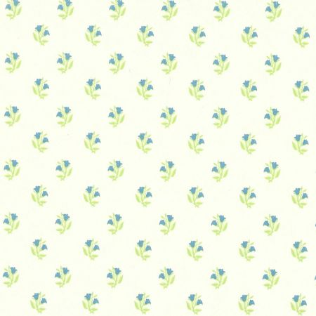 Rosebud Blue Dolls House Wallpaper